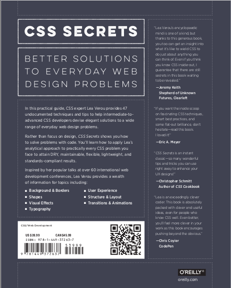 CSS secrets better solutions to everyday web design problems. Lea Verou
